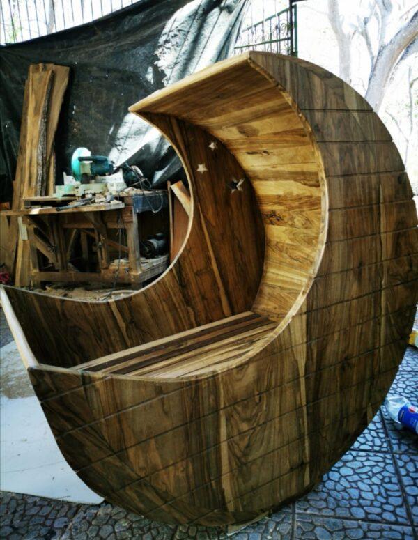 cuna madera estilo luna
